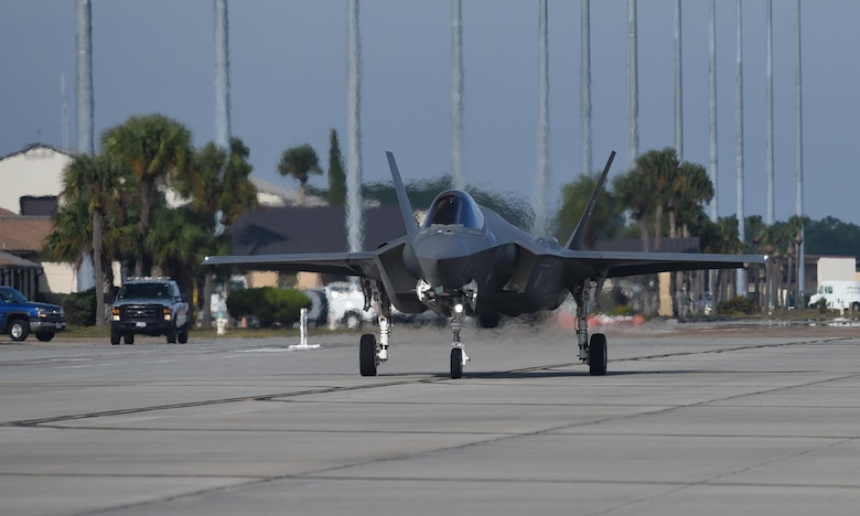 A U.S. Air Force F-35A Lightning II from Eglin Air Force Base taxis down the flightline before take-off during Checkered Flag 17-1 at Tyndall Air Force Base, Fla., Dec. 8, 2016. One of the main goals of Checkered Flag is to ensure integration and cohesion between all aircraft platforms and personnel during actual fighting integration in a real-world scenario. (U.S. Air Force photo by Staff Sgt. Alex Fox Echols III/Released)