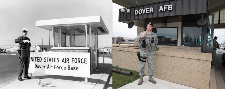 Circa 1960 versus 2016: The Dover Air Force Base main gate in 1960 with an Air Policeman versus the main in 2016 with Senior Airman Jordan Mehl, 436th Security Forces Squadron defender. (U.S. Air Force photo illustration by Senior Airman Zachary Cacicia)