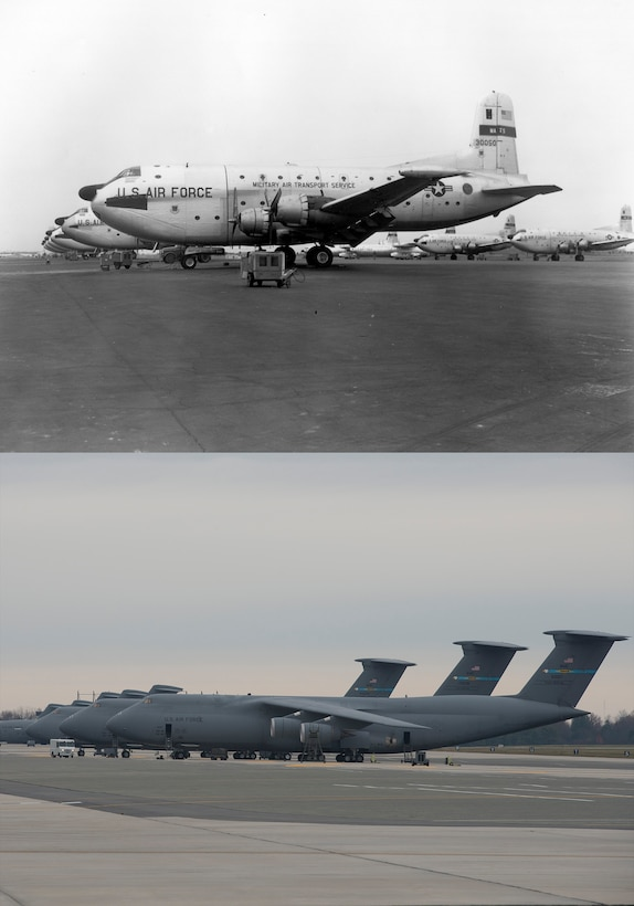 Circa early 1960s versus 2016. C-124 Globemaster II and C-5M Super Galaxy airlifters on the flightline. (U.S. Air Force photo illustration by Senior Airman Zachary Cacicia)