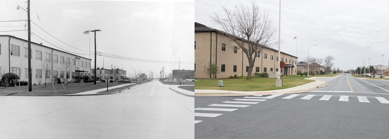 Circa 1970s versus 2016: A view down Eagle Way with the 436th Airlift Wing headquarters building on the left. (U.S. Air Force photo illustration by Senior Airman Zachary Cacicia)