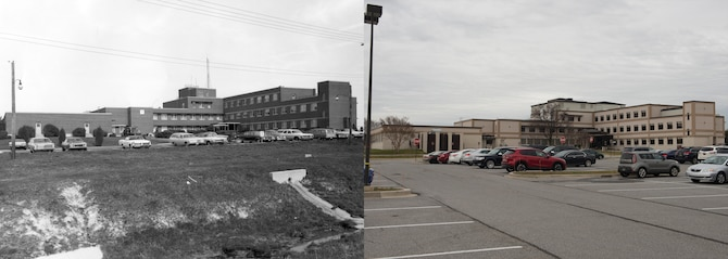 Circa 1970s versus 2016: The 436th Medical Group clinic. (U.S. Air Force photo illustration by Senior Airman Zachary Cacicia)