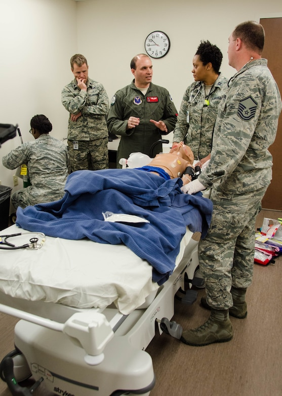 The 131st, 509th, and 442nd Medical Groups participated in a simulated radioactive bombing exercise to training Airmen for real world situations at Whiteman Air Force Base, Mo., Dec 3, 2016.  The key objective for the exercise was for the three medical groups to come together as one cohesive team to respond to a crisis situation that could arise and illustrate the importance of Total Force Integration.  (U.S. Air National Guard photo by Airman 1st Class Halley Burgess)