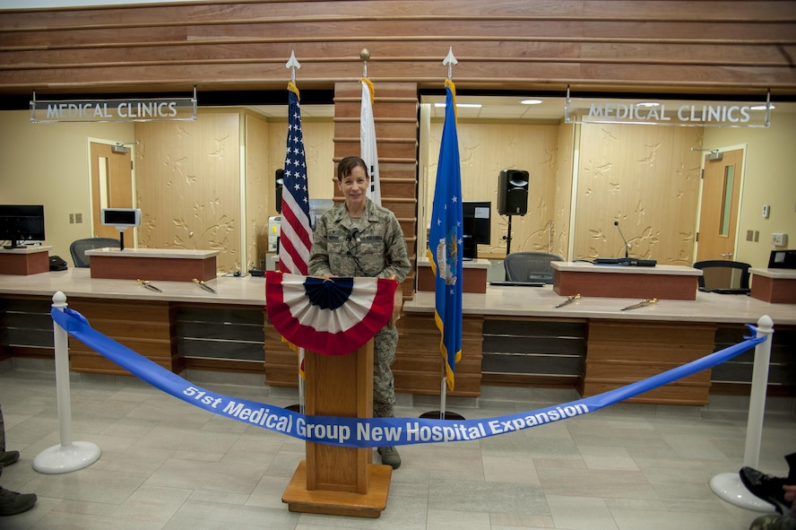 U.S. Air Force Col. Krystal Murphy, 51st Medical Group commander, gives her dedication remarks during the 51st Medical Group Phase One Hospital Expansion ribbon-cutting ceremony on Osan Air Base, Republic of Korea, Dec. 12, 2016. Phase one of the expansion is one of four expansions that are due to be complete in 2018. (U.S. Air Force photo by Staff Sgt. Jonathan Steffen)