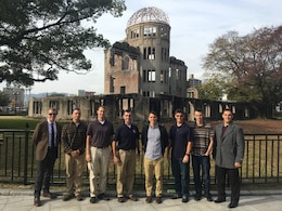 U.S. Army Corps of Engineers officers standing in front of the Atomic Bomb Dome in Hiroshima, Japan. The Soldiers, stationed throughout Japan, gathered Dec. 5 in Iwakuni to hone their leadership skills by learning more about Japan's history.
