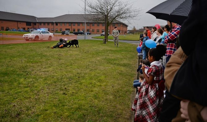 The 100th Security Forces Squadron Military Working Dog section performs a military working dog demonstration for Team Mildenhall families at the annual Children's Holiday Christmas Party Dec. 10, 2016, on RAF Mildenhall, England. Units from across base volunteered time to Team Mildenhall families with creating crafts, playing games, providing demonstrations and serving food. (U.S. Air Force photo by Senior Airman Christine Halan)