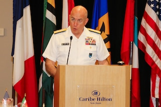 SAN JUAN, Puerto Rico – U.S. Navy Adm. Kurt Tidd, commander of U.S. Southern Command, addresses chiefs of defense and public security ministers from 21 partner nations while opening the fifteenth Caribbean Nations Security Conference (CANSEC) Dec. 7 in San Juan, Puerto Rico. The leaders attended the annual conference through Dec. 8 to examine trends, challenges and threats impacting stability in the Caribbean and define a collective strategy to improve their forces' collaboration in support of regional security. (photo by U.S. Army Sgt. Alexis Velez Rodriguez)