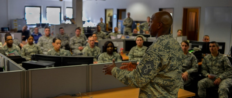 Chief Master Sgt. Kaleth Wright, U.S. Air Forces in Europe and Air Forces Africa command chief, speaks to Airmen of all ranks about the importance of mentorship at Ramstein Air Base, Germany, Nov. 23, 2016. Wright, who is slated to be the 18th Chief Master Sergeant of the Air Force, shared his story of how his mentor impacted his career. (U.S. Air Force photo by Airman 1st Class Joshua Magbanua)