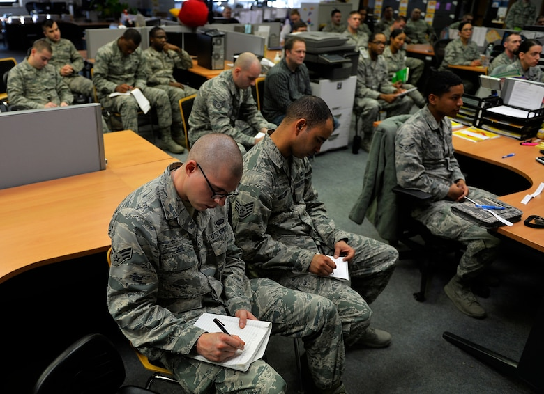 Airmen assigned to the 86th Comptroller Squadron take notes during a talk delivered by Chief Master Sgt. Kaleth Wright, U.S. Air Forces in Europe and Air Forces Africa command chief, at Ramstein Air Base, Germany, Nov. 23, 2016. The future 18th Chief Master Sgt. of the Air Force discussed topics with Airmen ranging from leadership, mentorship, and developments in the Air Force. (U.S. Air Force photo by Airman 1st Class Joshua Magbanua)