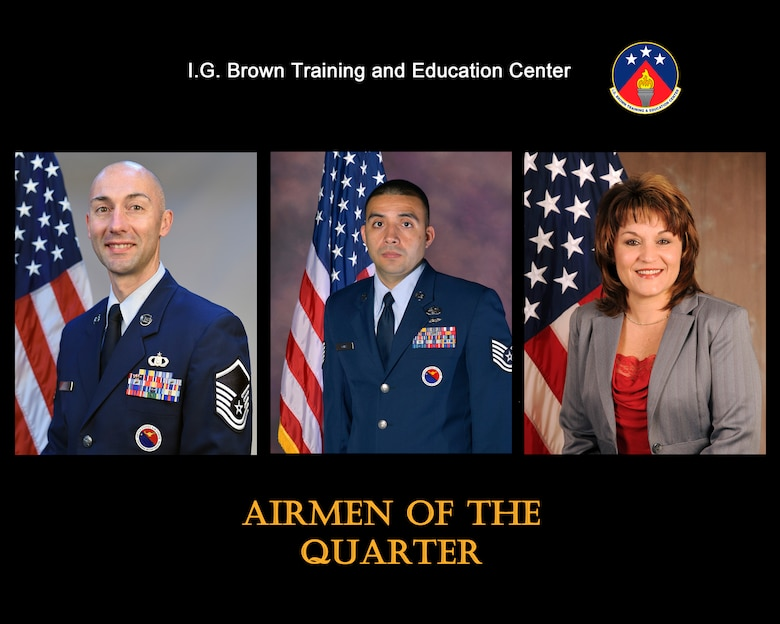 Master Sgt. Shane Hurd, Senior NCO of the quarter, Tech. Sgt. Angelo Gomez, NCO of the quarter, and Tammie Smeltzer, civillian of the quarter, were recognized for their outstanding service from July to September 2016, at the I.G. Brown Training and Education Center in Louisville, Tenn. (U.S. Air National Guard file artwork)