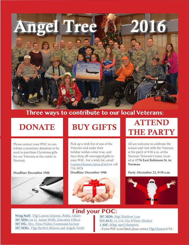 Reservists and their families at Tinker are scheduled to visit the Norman Veteran's Center at 9:30 a.m. Dec. 22 to celebrate the holidays with our nation's heroes.