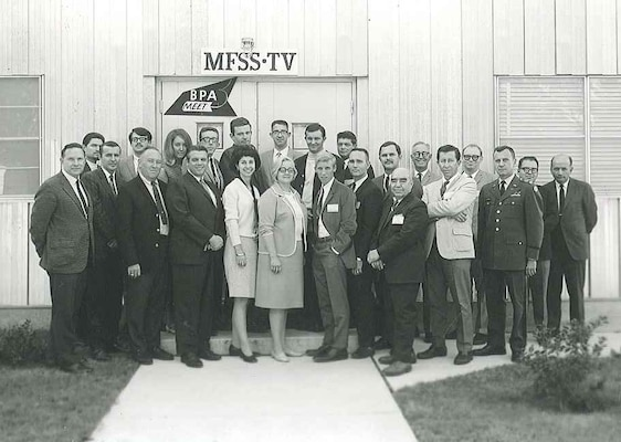The staff of MFSS-TV in the 1960s