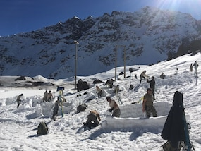 Texas Guardsmen work alongside the Chilean soldiers during the Chilean Mountain School course August 15-26, 2016 in Portillo, Chile. The 10-day course consisted of basic competencies on movement, maneuvering, and life-saving techniques in spring and winter mountain terrain. Through these military exchanges, soldiers are given the opportunity to experience new types of operations. (Courtesy Photo)