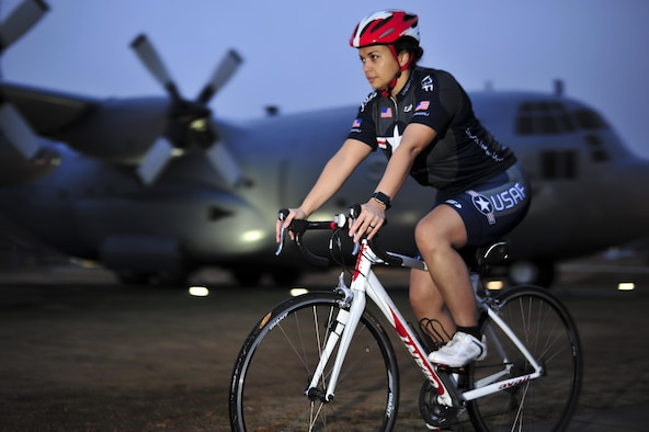 U.S. Air Force Master Sgt. Sandra Frank, 19th Force Support Squadron lodging operations manager, trains for the 2017 Register's Annual Great Bicycle Ride Across Iowa at Little Rock AFB, Ark. Dec. 13 2016. RAGBRAI is the oldest, largest and longest recreational bicycle touring event in the world as well as the premiere cycling event across 500 miles in Iowa. Frank is the Arkansas team lead for the Air Forces' Cycling team as she prepares to start up the first team for Little Rock AFB. (U.S. Air Force Photo by Staff Sgt. Jeremy McGuffin)
