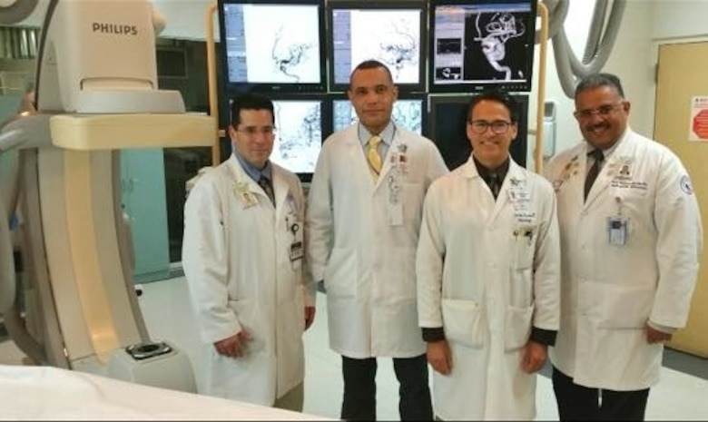 From Right to Left: Dr. Rafael Rodriguez Mercado, Dr. Charles Olivera, Dr. Cosme Villaman, and Dr. Caleb Feliciano, Endovascular Neurosurgery Team University of Puerto Rico School of Medicine and Puerto Rico Medical Center.