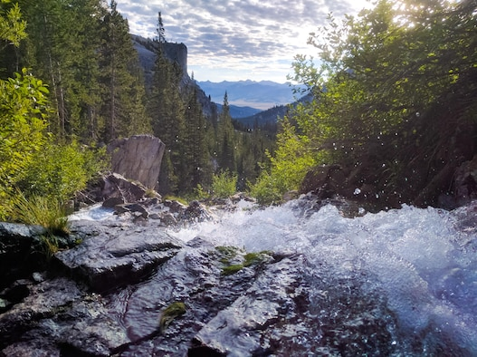 An alpine runoff cascades down the side of a mountain in the Sawtooth National Forest, Idaho, July 16th, 2016. The Sawtooth National Forest spans more than two million acres across the state of Idaho. (U.S. Air Force photo by Senior Airman Connor J. Marth/Released)