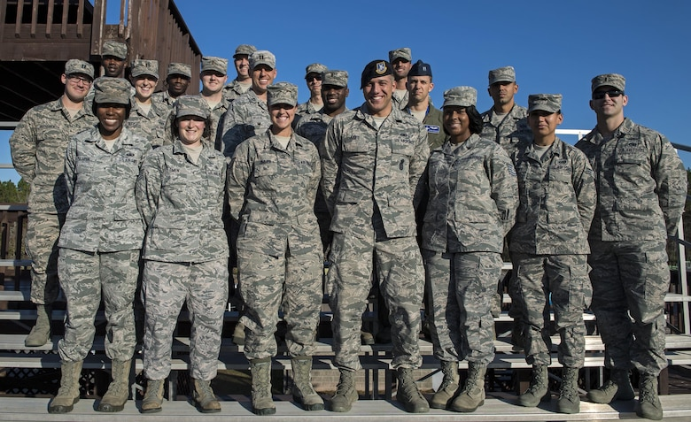 Airmen who were selected to participate in Emerge Moody pose for a group photo, Dec. 1, 2016, at Moody Air Force Base, Ga. Airmen from the rank of E-3 to E-6 and Company Grade Officers, applied for the program and were selected after an interview process to connect with their peers while learning about various units. (U.S. Air Force photo by Airman 1st Class Janiqua P. Robinson)
