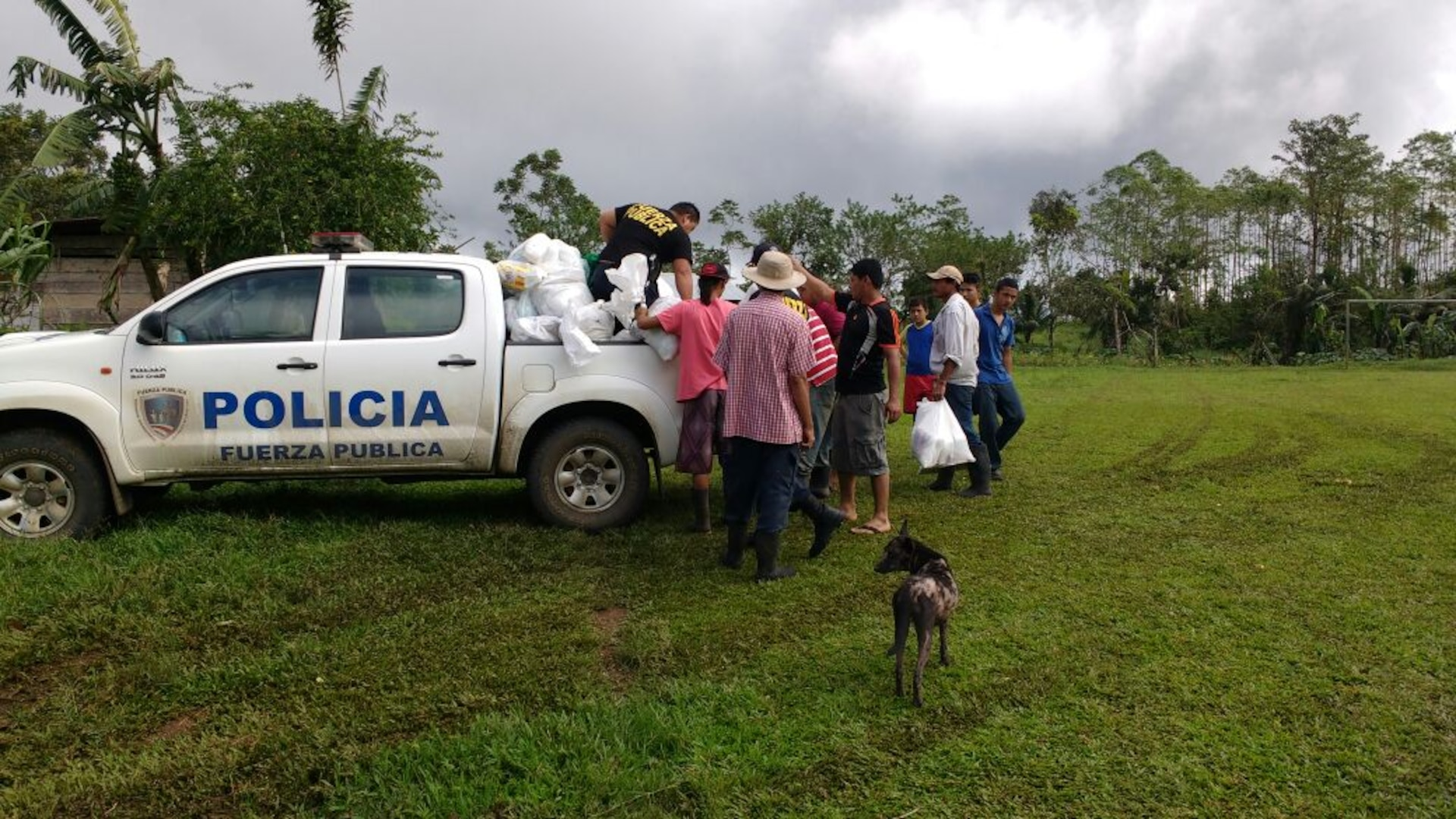 Costa Rican police bring supplies to areas of the country damaged during Hurricane Otto which hit the county Nov. 26. Joint Task Force Bravo in Soto Cato Air Base, Honduras sent two personnel to assist the Costa Rican country team and other emergency response organizations to identify engineer requirements and humanitarian assistance projects.