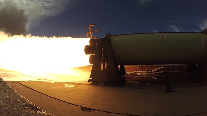 To assure continued safety, SMC's Rocket System Launch Program conducts periodic static fire tests like the one conducted on a 50-Year Old Minuteman Motor,  Oct. 13. This test was unique because of the age of the motor.