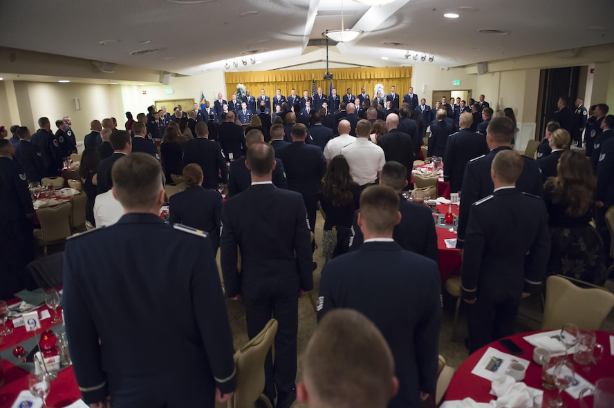 The 412th Force Support Squadron's Airman Leadership School Class 17A graduated 44 senior airmen and one civilian Dec. 8. at Club Muroc. (U.S. Air Force photo by Joseph Gocong)