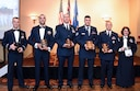 178th Wing announced the following Award Winners for 2016: from left to right, Captain Matthew Kemper, Master Sgt Jeremy Jefferson, Master Sgt. Bruce Waring, Staff Sgt. David Cridlebaugh, Tech Sgt. James Taylor, and Tech. Genevieve Parsell, at Springfield Ohio, Dec 3, 2016.  The 178th member received their awards as part of the inaugural 178th Wing Military Ball and Awards Banquet.(U.S. Air National Guard photo by 2nd Lt. Lou Burton)