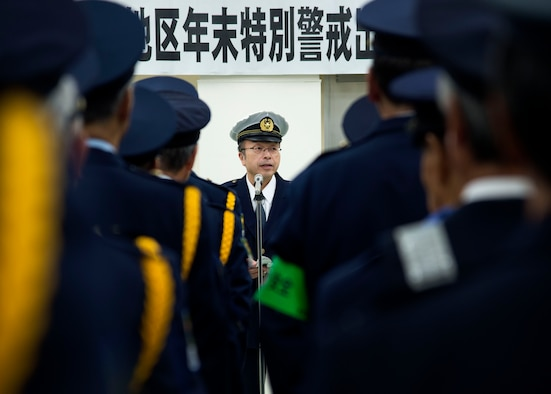 Katsuji Soma, Misawa City police station chief, gives remarks during the opening ceremony of the End-Of-Year Traffic Safety and Crime Prevention Campaign in Misawa City, Japan, Dec. 14, 2016. Throughout the Aomori Prefecture, 18 different local police stations held ceremonies, similar to the one in Misawa, to promote positive living and working environments, while combating crimes, alcohol related incidents, fraud and traffic accidents . (U.S. Air Force photo by Senior Airman Deana Heitzman)