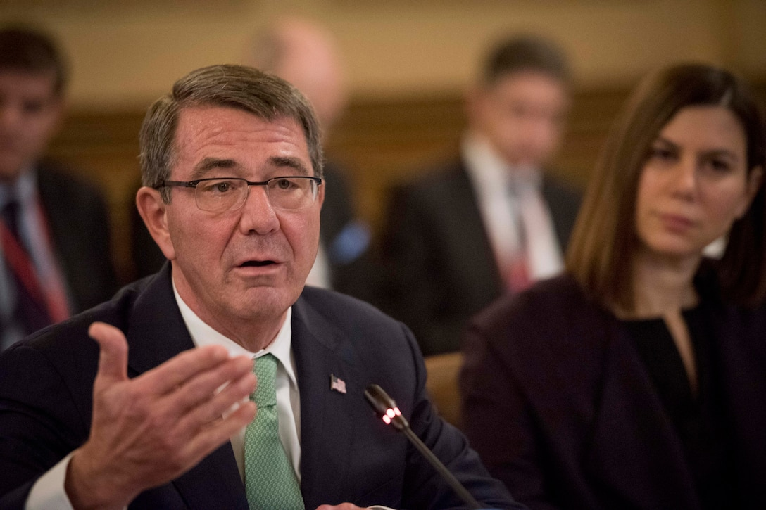 Defense Secretary Ash Carter speaks during a meeting in London of defense ministers from nations participating in the coalition to counter the Islamic State of Iraq and the Levant, Dec. 15, 2016. DoD photo by Air Force Tech. Sgt. Brigitte N. Brantley