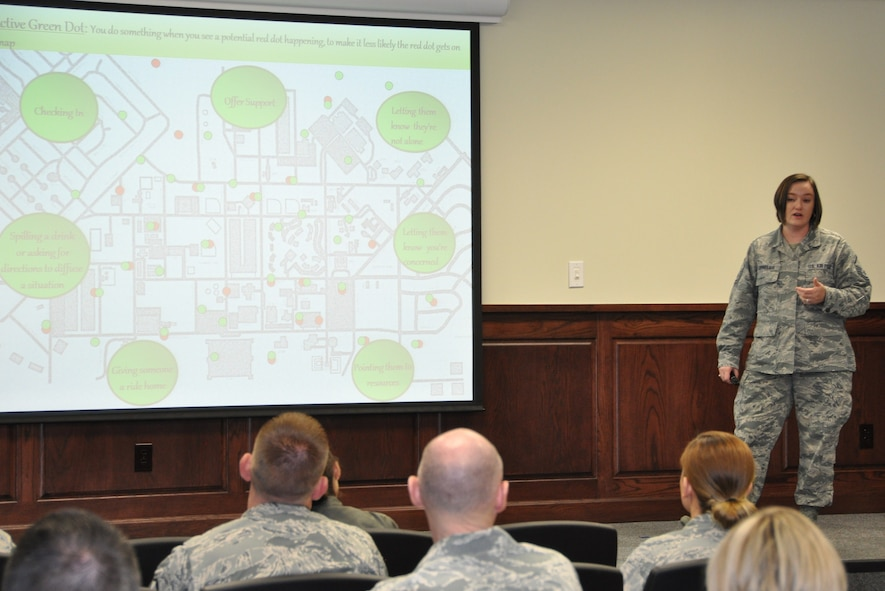 Master Sgt. Sarah Cornelius presents a brief on the Green Dot program during the 340th Flying Training Group's MUTA held Dec. 1-2 at Joint Base San Antonio-Randolph, Texas (Photo by Janis El Shabazz).