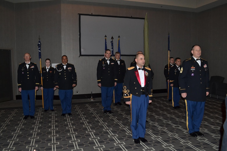 The leadership of the 3rd Battalion, 379th Regiment, cased their colors at the battalion's deactivation ceremony in Fort Smith, Arkansas on Dec. 10, 2016. The ceremony marks the closing of the unit as part of a larger restructuring of the 800th Logistics Support Brigade, which is headquartered in Mustang, Oklahoma. (Photo Credit: Sgt. 1st Class Emily Anderson)