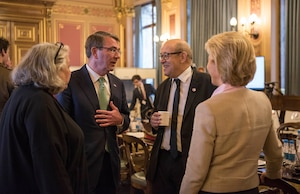 Defense Secretary Ash Carter talks with French Defense Minister Jean-Yves Le Drian and German Defense Minister Ursula von der Leyen in London before a meeting of defense ministers from nations participating in the coalition to counter the Islamic State of Iraq and the Levant, Dec. 15, 2016. DoD photo by Air Force Tech. Sgt. Brigitte N. Brantley