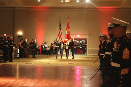 Color Guards of Marine Corps Detachment Fort Leonard Wood, presents the Colors to the Commanding Officer at Tan-tar-a Resort, Osage Beach, MO., November 12, 2016. As a tradition, the Marine Corps Birthday is celebrated every year with a traditional ball and cake-cutting ceremony as an establishment of the Marines. (U.S. Marine Corps photo by Sgt Teng Yang)