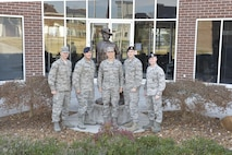 Airman leadership school class 17-2 nominees for the Chief Master Sgt. Paul H. Lankford Enlisted PME Center's leadership award take a group photo with Chief Master Sgt. Edward Walden, commandant, outside his office Dec. 15, 2016 at the I.G. Brown Training and Education Center in Louisville, Tenn. The Lankford Center will announce the selected award winner at their graduation banquet Friday evening. (U.S. Air Force photo by Master Sgt. Jerry Harlan)