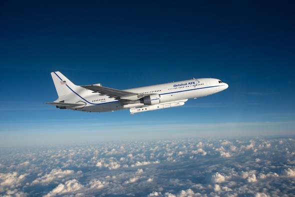 The Orbital ATK L-1011 Stargazer aircraft flies over the Atlantic Ocean carrying the Pegasus XL rocket with eight Cyclone Global Navigation Satellite System spacecraft. The 45th Space Wing supported Orbital ATK's successful rocket launch Dec. 15 at 8:37 a.m. from the L-1011 carrier aircraft which took off from the Skid Strip at Cape Canaveral Air Force Station, Fla. According to NASA, CYGNSS satellites will make frequent and accurate measurements of ocean surface winds throughout the life cycle of tropical storms and hurricanes. The data that CYGNSS provides will enable scientists to probe key air-sea interaction processes that take place near the core of storms, which are rapidly changing and play a crucial role in the beginning and intensification of hurricanes. (Courtesy photo by NASA/Lori Losey)