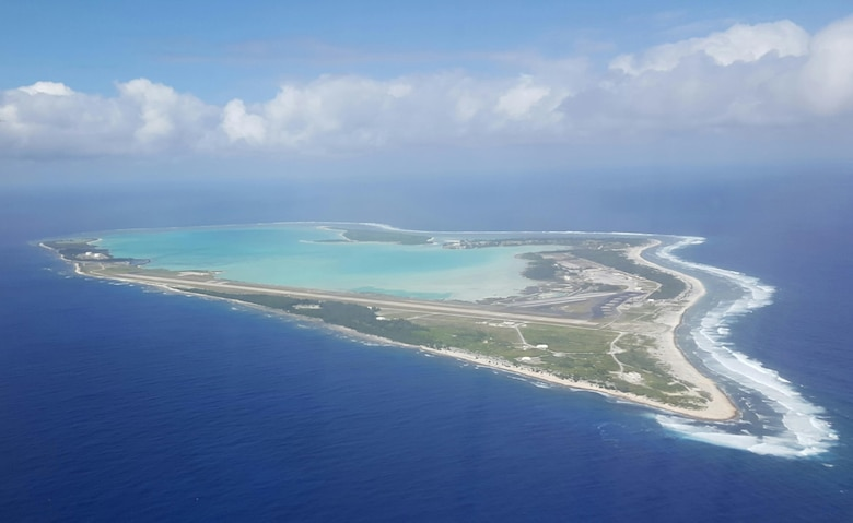 WAKE ISLAND ATOLL--A small U.S. Air Force installation located approximately 2,000 miles west of Hawaii and 1,300 miles east of Guam is about 10 square miles in size. It was purchased by the U.S. in 1899 and its purpose was to be a telegraph cable gathering station and to refuel war ships for the U.S. Navy as well as merchant passenger and steam ships. Today, Wake Island serves as a platform for Trans Pacific air traffic and critical missile defense tests. (U.S. Air Force photo/Tech. Sgt. John Gordinier)