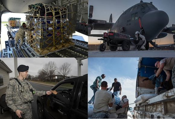 Air Mobility Command Airmen working at several bases. (U.S. Air Force photos)