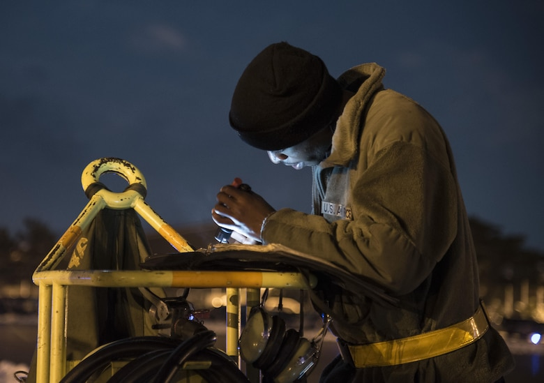 U.S. Air Force Senior Airman Joseph Chapman, a 14th Aircraft Maintenance Unit crew chief, looks over aircraft forms at Misawa Air Base, Japan, Dec. 12, 2016. Aircraft forms show all the servicing the aircraft needs as well as any fixes the prior crew performed. Paperwork is important because it identifies the status of the aircraft and determines whether it will fly or not. (U.S. Air Force photo by Airman 1st Class Sadie Colbert)