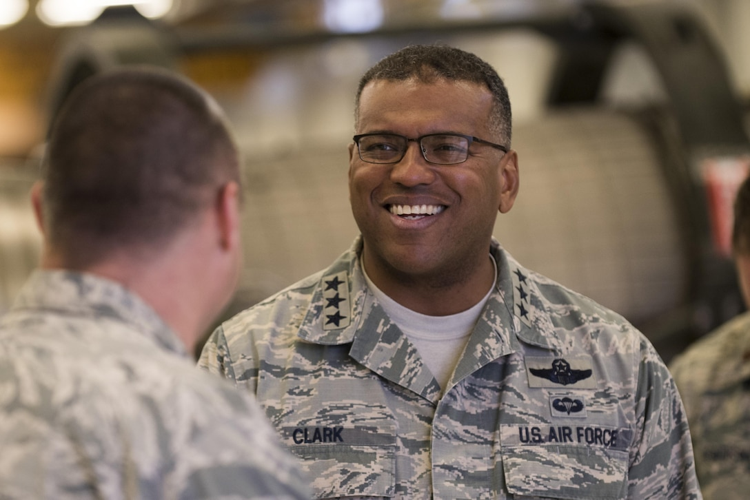 U.S. Air Force Lt. Gen. Richard M. Clark, 3rd Air Force and 17th Expeditionary Air Force commander, smiles during a base familiarization tour at Spangdahlem Air Base, Dec. 14, 2016. His tour included a breakfast and lunch with outstanding performers, a brief about the wing's accomplishments, a sneak peek at base renovations and an all call with nearly 500 Airmen. (U.S. Air Force photo by Airman 1st Class Preston Cherry)