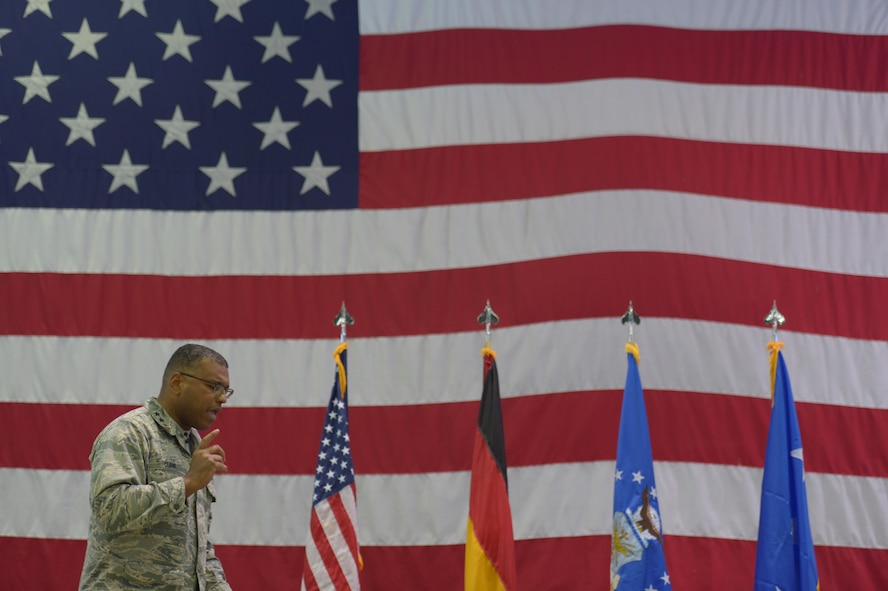 Lt. Gen. Richard Clark, 3rd Air Force and 17th Expeditionary Air Force commander, talks about his priorities during an all call at Hangar One on Spangdahlem Air Base, Germany, Dec. 14, 2016. This visit represented his first time at Spangdahlem Air Base since assuming command in October 2016. (U.S. Air Force photo by Staff Sgt. Jonathan Snyder)