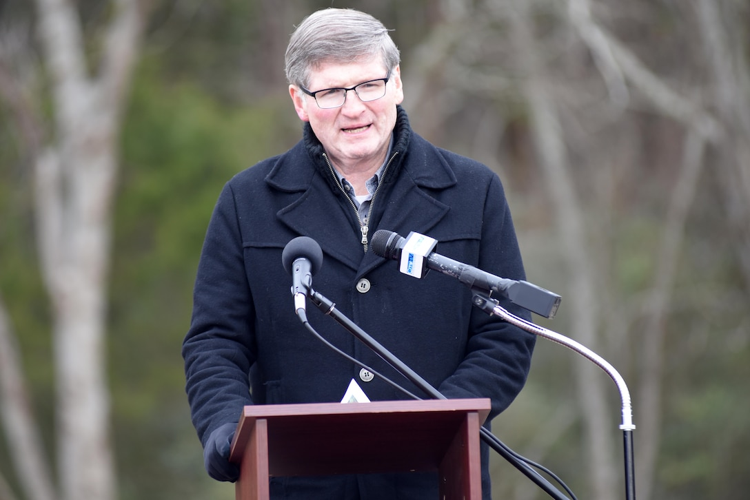 Bill Shacklett, city councilman in Murfreesboro, Tenn., gives the invocation at a ribbon cutting ceremony celebrating the completion of the North Murfreesboro Greenway Project Dec. 14, 2016.  The U.S. Army Corps of Engineers Nashville District completed improvements to the Walter Hill Trailhead and the trail is now open to the public.