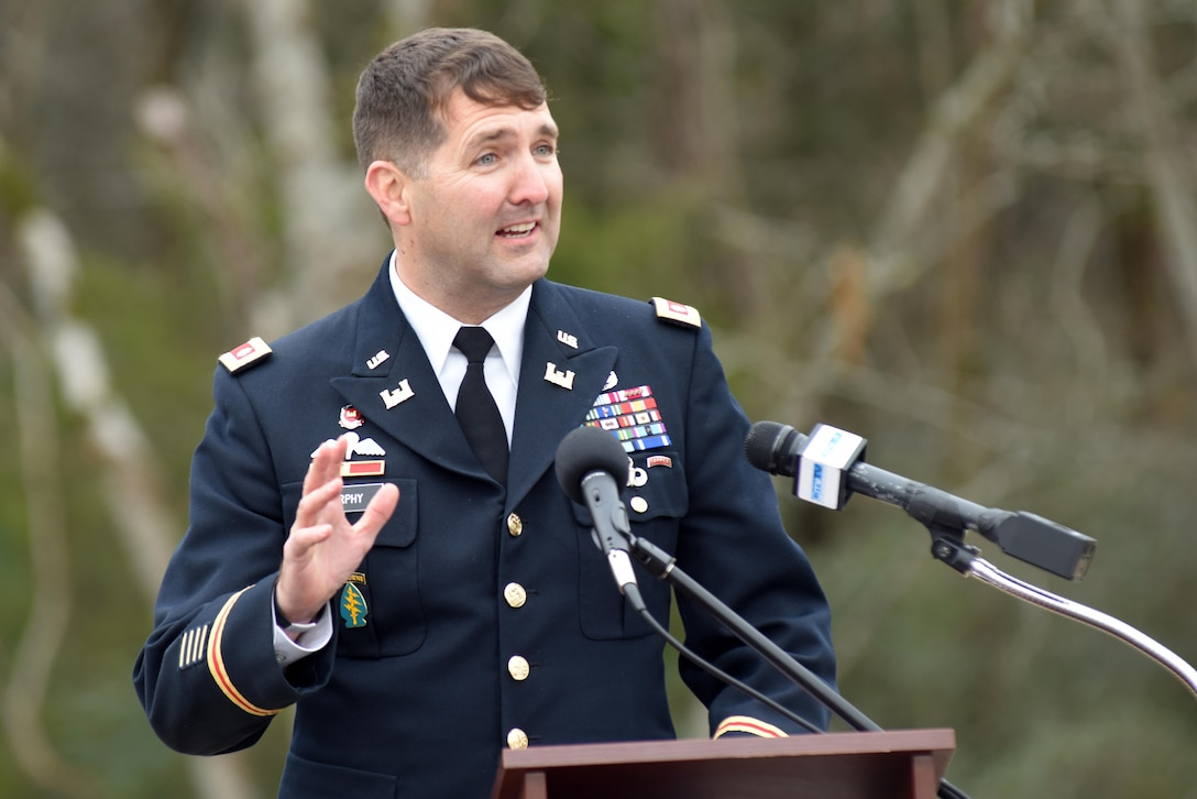 Lt. Col. Stephen Murphy, U.S. Army Corps of Engineers Nashville District commander, addresses attendees celebrating the completion of the North Murfreesboro Greenway Project during a ribbon cutting with the city of Murfreesboro, Tenn., Dec. 14, 2016.