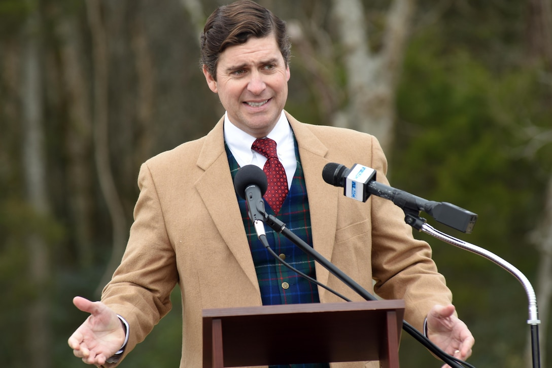 D. Edwin Jernigan, Murfreesboro Parks and Recreation Commission chairman, credits the mayor and city council members who support parks and recreation with great leadership and vision during a ribbon cutting to celebrate the completion of the North Murfreesboro Greenway Project Dec. 14, 2016 in Murfreesboro, Tenn.