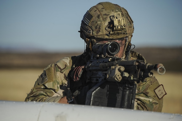 An Air Force pararescueman, assigned to the 48th Rescue Squadron, provides overwatch during a mass casualty exercise at Fort Huachuca, Ariz., Dec. 8, 2016. During the exercise, pararescuemen were expected to triage, treat and evacuate casualties, and eliminate any presence of simulated opposing forces. (U.S. Air Force photo/Airman 1st Class Mya M. Crosby)