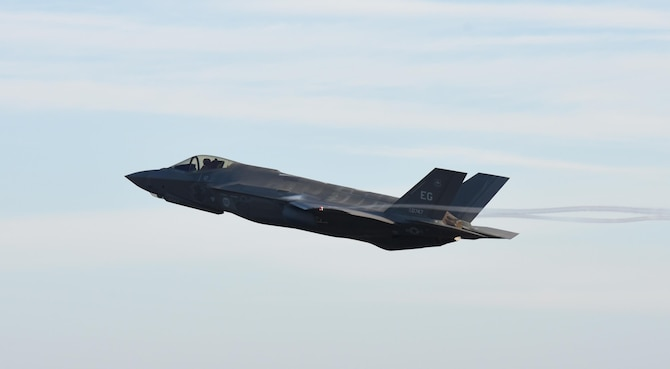 An F-35A Lightning II from Eglin Air Force Base, Fla., takes off during Checkered Flag 17-1 at Tyndall AFB, Fla., Dec. 8, 2016. In addition to the six F-35s working from Tyndall AFB's ramp, six more launched from Eglin AFB each day acting primarily as aggressors against the coalition of fighters at Tyndall AFB. (U.S. Air Force photo/Staff Sgt. Alex Fox Echols III)