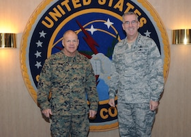 U.S. Marine Corps Gen. Robert B. Neller, Marine Corps commandant, visited U.S. Strategic Command (USSTRATCOM) at Offutt Air Force Base, Nebraska, Dec. 14, for a command orientation and discussions with U.S. Air Force Gen. John E. Hyten, USSTRATCOM commander, and other senior leaders. While here, Neller toured the USSTRATCOM Global Operations Center and received capabilities and integration briefings on nuclear command, control and communication, space, electronic warfare, and cyber. One of nine DoD unified combatant commands USSTRATCOM has global strategic missions, assigned through the Unified Command Plan, which include strategic deterrence; space operations; cyberspace operations; joint electronic warfare; global strike; missile defense; intelligence, surveillance and reconnaissance; combating weapons of mass destruction; and analysis and targeting.