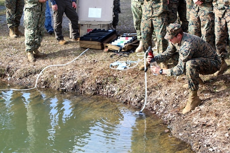 The Marine Corps Engineer School and U.S. Marine Corps Forces, Special Operations Command conducted a joint Small Unit Water Survivability and Sustainability Course at Courthouse Bay aboard Camp Lejeune, N.C., December 12, 2016.  In attendance were medical personnel from MARSOC, 2nd Reconnaissance Battalion, and the U.S. Army Special Operations Command.  The day-long training included classroom and practical application on how to conduct a water reconnaissance and effectively treat, store, and monitor safe potable water under austere deployment conditions unique to the Special Operations Command.  Attendees were provided hands-on training of small, mobile equipment capable of purifying sufficient quantities of natural water to meet the requirements of individual and team assets.  The course was collaboratively instructed by Marine Corps Engineer School, MARSOC Health Service Support/G4, and field water experts from the Navy and Marine Public Health Center and Army Public Health Center.