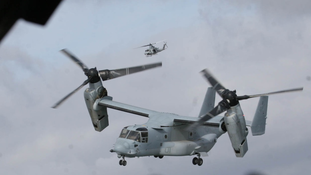 An MV-22B Osprey with Marine Medium Tiltrotor Squadron (VMM) 161 flies to a landing zone during tactical recovery of aircraft and personnel training at Marine Corps Base Camp Pendleton, Calif., Dec. 6. The training was conducted as a part of the squadron's deployment for training at Creech Air Force Base.