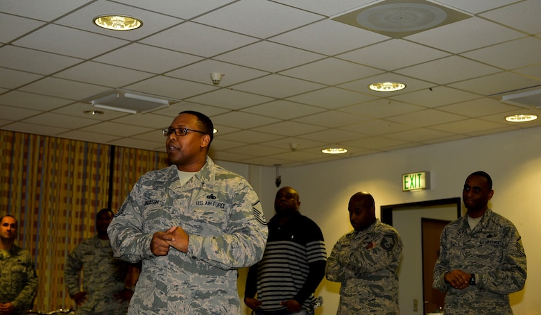 Master Sgt. Erroll Jackson, 86th Force Support Squadron career assistance advisor, speaks about mentorship during a Huddle meeting at Ramstein Air Base, Germany, Dec. 13, 2016. The Huddle is a club which provides an avenue for NCOs, senior NCOs, and junior enlisted Airmen to have open and constructive dialogue concerning issues such as mentorship and work life. (U.S. Air Force photo by Airman 1st Class Joshua Magbanua)