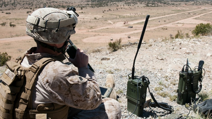 This fiscal year Marines will receive smart phones that make calling for fire support easier, quicker and more accurate.  The Target Handoff System Version 2, or THS V.2, is a portable system designed for use by dismounted Marines to locate targets, pinpoint global positioning coordinates and call for close air, artillery and naval fire support using secure digital communications. (U.S. Air Force Photo by Staff Sgt. Joe Laws)