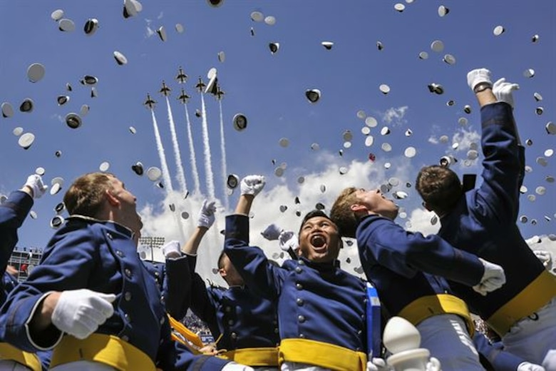 Four cadets received their diplomas and took their oath of office Dec. 14, 2016, at the Air Force Academy's winter graduation ceremony. (U.S. Air Force photo)