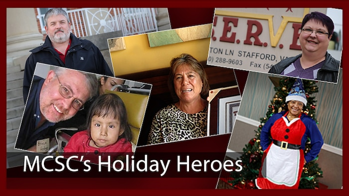 For five Marine Corps Systems Command employees, giving to and helping others are year-round resolutions.  Meet MCSC's Holiday Heroes: (from top left) Doug Simpson, Marleen Alegria, Leanne Cannon, Richard Hodge and Lavonne Robinson. (U.S. Marine Corps graphic by Jennifer Sevier)
