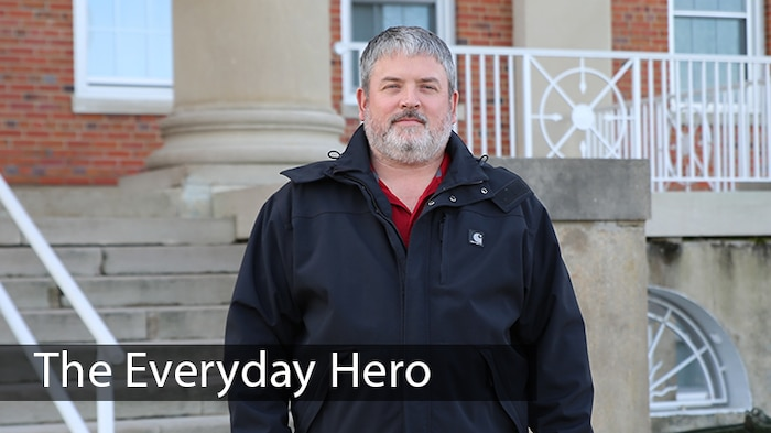 """Doug Simpson, an engineer technician at MCSC, is recognized by others as a person who """"pays it forward."""" He recently went above and beyond to help a homeless stranger while driving in to work aboard Marine Corps Base Quantico, Virginia. (U.S. Marine Corps photo by Ashley Calingo)"""